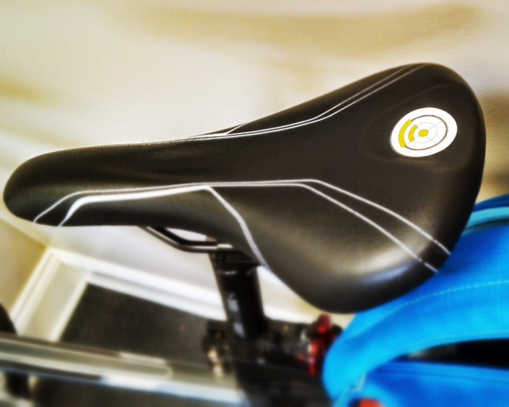 Photo of bicycle saddle with NFC sticker